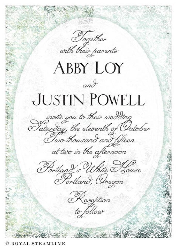 Invitación de boda elegante con un estilo clasico - Foto: Royal Steamline