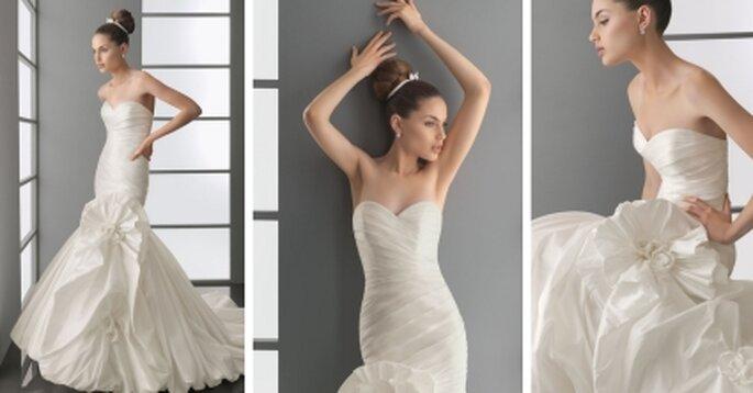 Vestido de novia 2010. Silueta sirena, strapless de tafetán en color natural. Avance Aire Barcelona