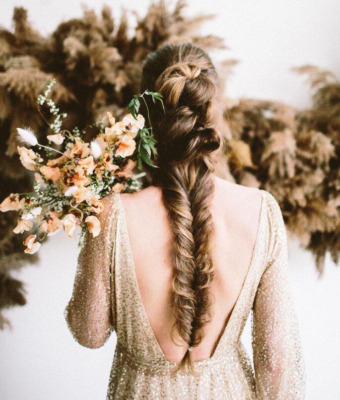 Coiffure de mariage tresses sur cheveux longs