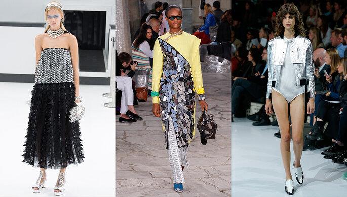 Photo de gauche à droite : Chanel, Loewe, Courrèges