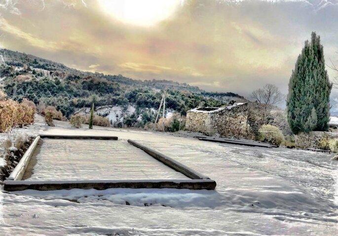 Jardin en hiver d'un lieu de réception de mariage