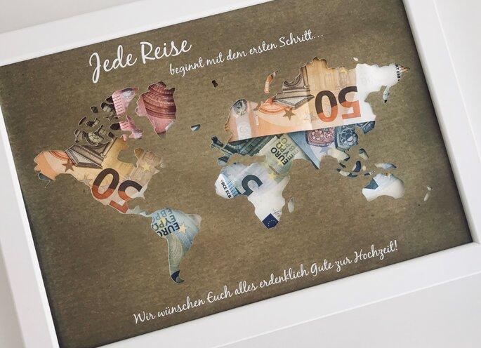 Geldgeschenk zur Hochzeit Weltkarte selbstgemacht
