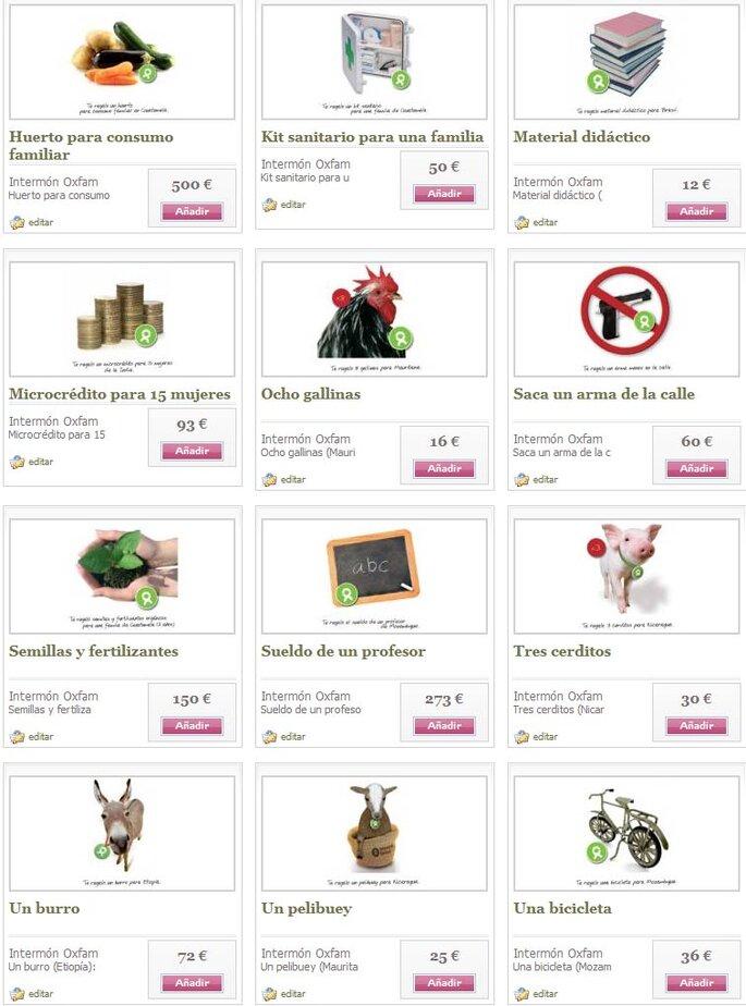 Una selección de los productos de Intermón Oxfam del catálogo Zankyou