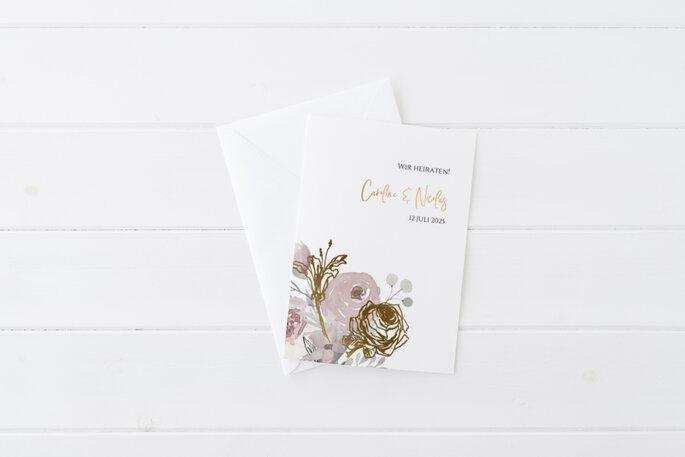 Hochzeitseinladung, Hochzeitskarte Boho