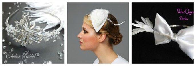 Links: Kristallhaarreifen Modell Hepburn von Echobox Bridal. Mitte: Haarreife mit Tropfe und Federn von billies. Rechts: Haarreifen mit Masche und Federn von Luches