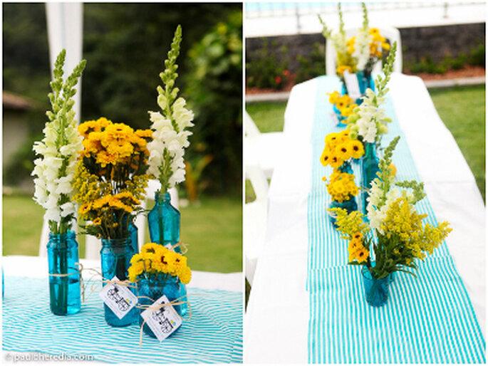 decoracao de casamento azul e amarelo simples:Dinheiro e tranquilidade: decoração amarela e azul para casamentos