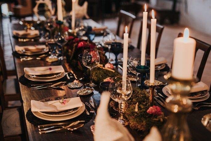 mesa casamento rústica tons quentes inverno