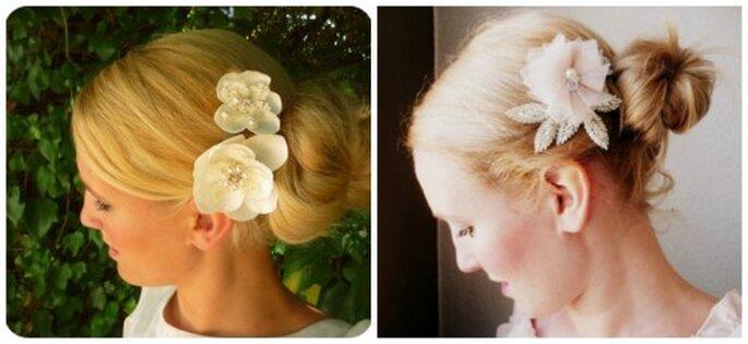 Blumen im Haar statt dem üblichen Schleier. Foto: La Chia Accessoires
