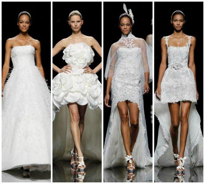 Manuel Mota ha desvelado los bocetos de estos cuatros vestidos de la colección Pronovias 2013. Foto: Pronovias