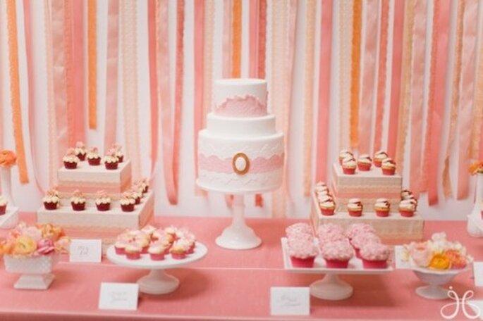 Decoración de boda en color rosa pastel