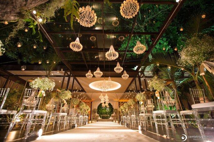 iluminação casamento lustre cristal