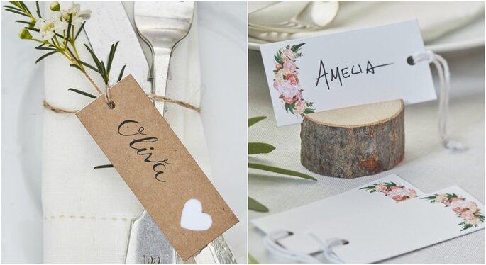 Etiquetas para decoración de bodas rústicas