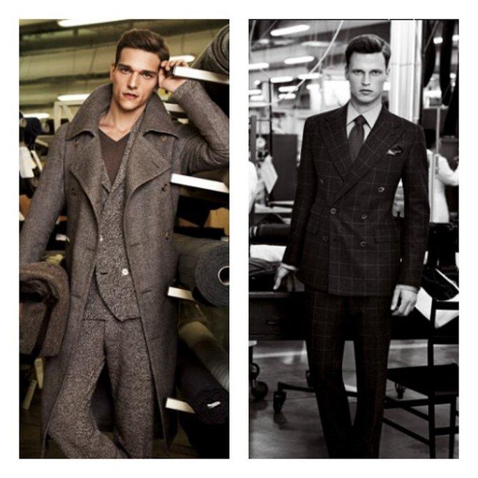 A sinistra, completo con giacca doppiopetto e cappotto; a destra, abito che esalta al massimo lo charm maschile proponendo contemporaneamente cravatta e pochette. Foto: Corneliani