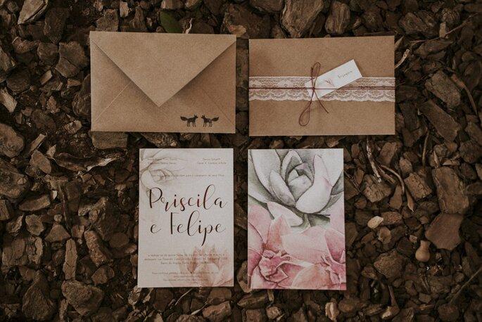 convite casamento boho rústico