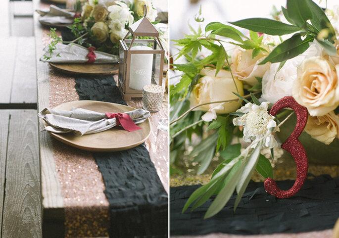 Centros de mesa con flores elegantes y detalles en color burgundy - Foto Brooke Schwab
