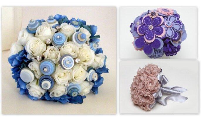 Ramos de novia sin flores. Fotos: B de Blanca y Angelas Artistic Designs