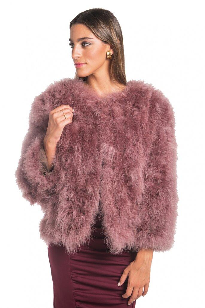 chaqueta rosa de pelo
