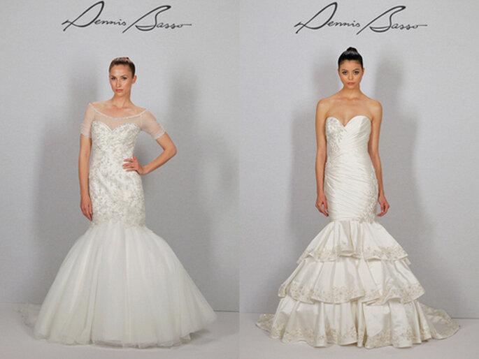 Ancora due modelli per la sposa stile sirena. Fascianti nella parte superiore, sensuali e romantici allo stesso tempo. Foto: Dennisbasso.com
