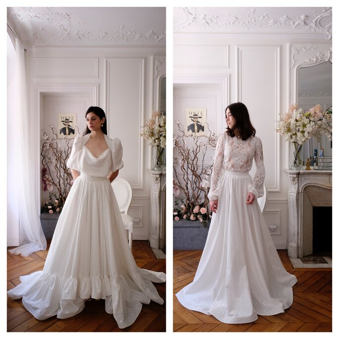 Robe de mariée longues avec du volume