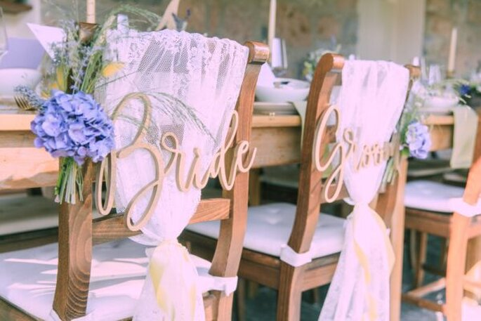 Liebevolle Hochzeitsdekoration bei der Hochzeit im Tessin.