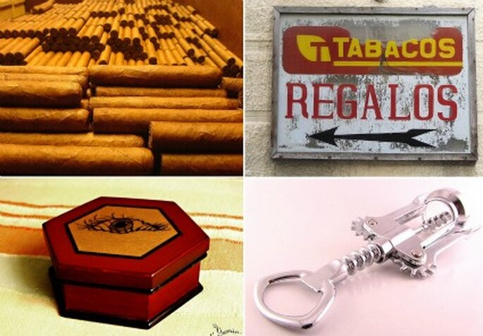 Collage detalles fotos: Tabacos de larskfelm; Regalos de Luis Echanove; Caja de madera de Amnesi-a;  Descorchador de Phyre Worx