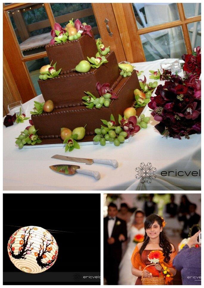 Elementos decorativos para una boda en color café