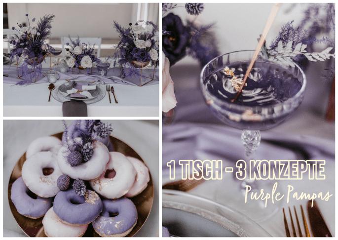 1 Tisch – 3 Hochzeitskonzepte: Hochzeitskonzept Purple Pampas Cocktail