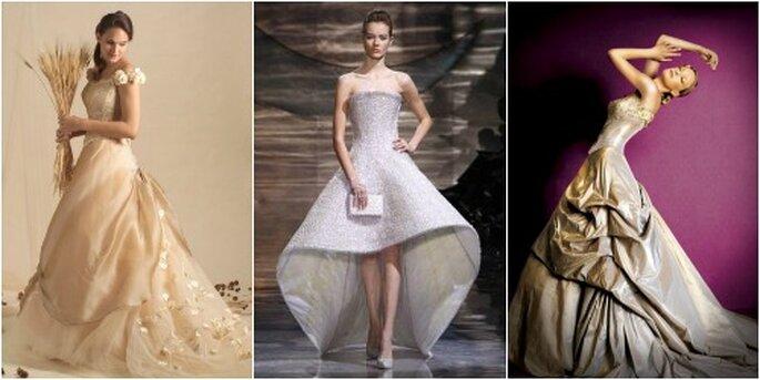 De gauche à droite, robe couleur champagne de Miledy Himico, argent pour Armani et or pour Le Spose di Firenze