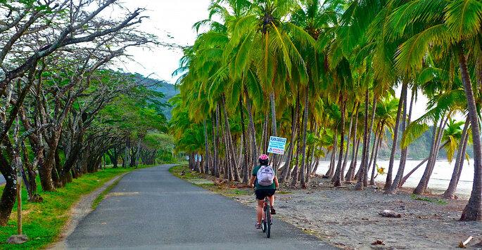 estrada ao pé da praia na Costa Rica