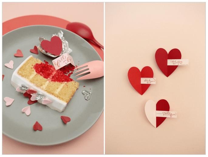 Una boda inspirada en San Valentín con muchos corazones - Foto Dasha Caffrey Photography