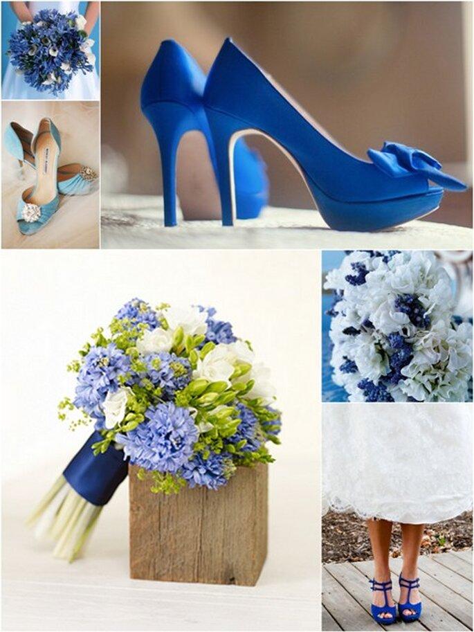 Sapatos e Flores em tons de azul