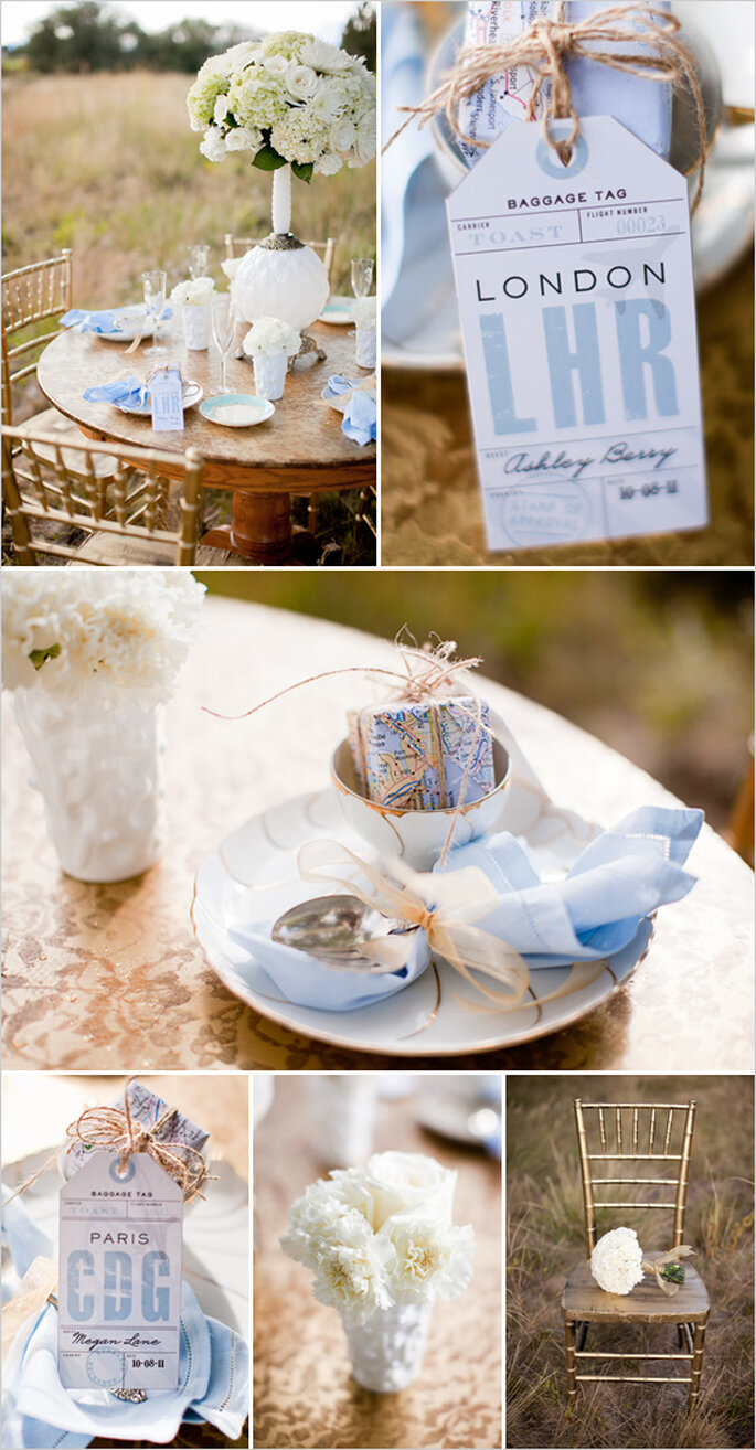 Elemente erlebter Reisen auf Ihrem Hochzeitstisch - Foto Cat Mayer Studio