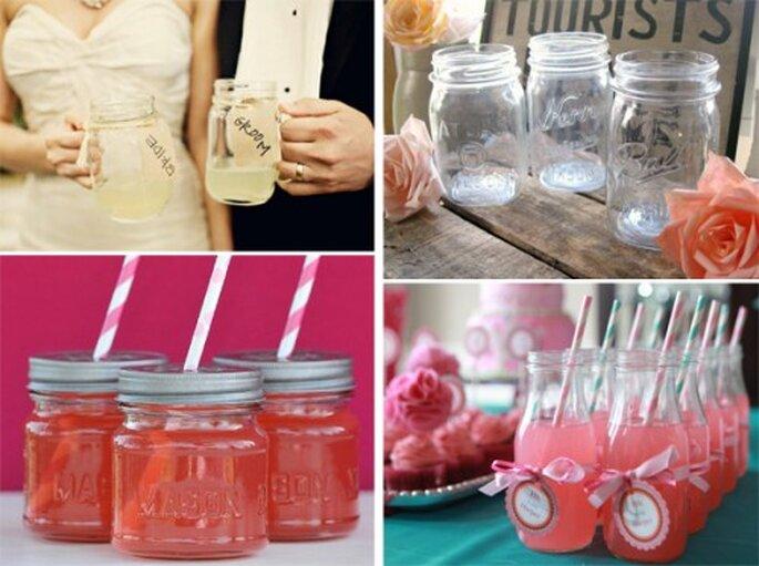 Bebidas en frascos de vidrio para bodas en 2013 - SassyStemware, RiverHouseDesigns, EllaJaneCrafts y Heidi and Julia Our Labor of Love en Ruffled