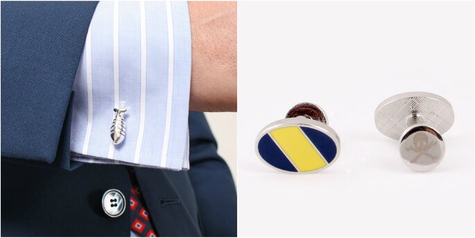 Lisca cufflinks silver, Regimental cufflinks yellorw. Credits: Scalpers