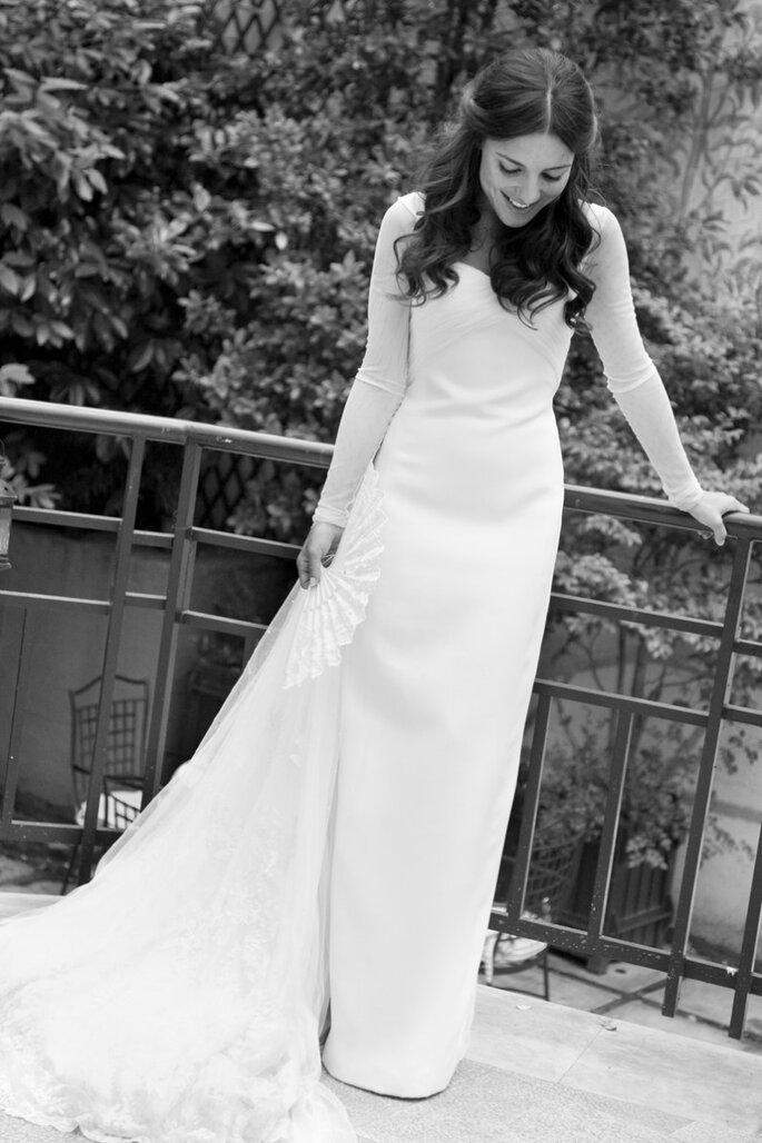 Paula con vestido de novia de Lorenzo Caprile. Foto Click10