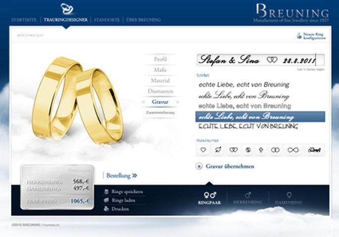 Könnt ihr eure ringe und die gewünscht gravur online konfigurieren