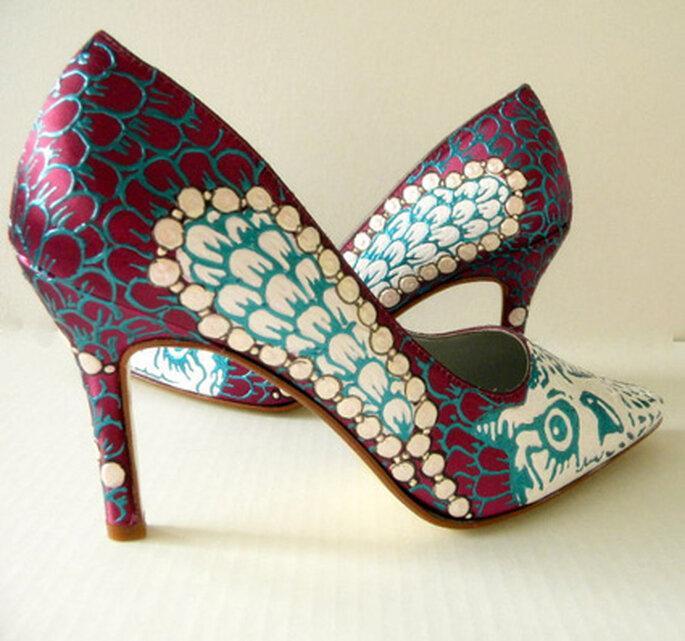 buty ślubne pawie oko