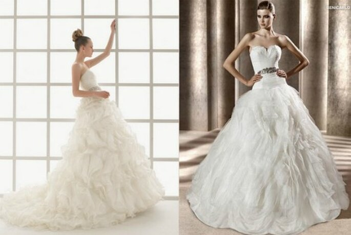 A gauche CollectionTwo par Rosa Clara 2012 Mod. Luz. A droite collection Pronovias 2012 Dreams Mod. Benicarlo.
