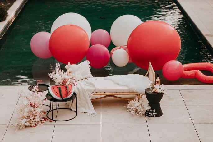 Elopement Fun Wedding Shooting Setting Pool Dekoration