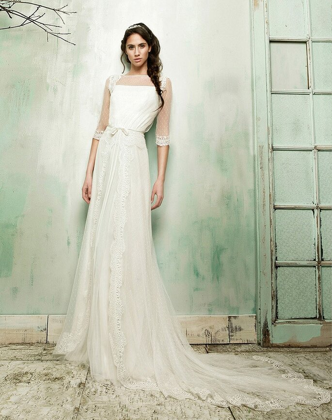 Vestidos de novia con plumeti. Credits: María Barragán