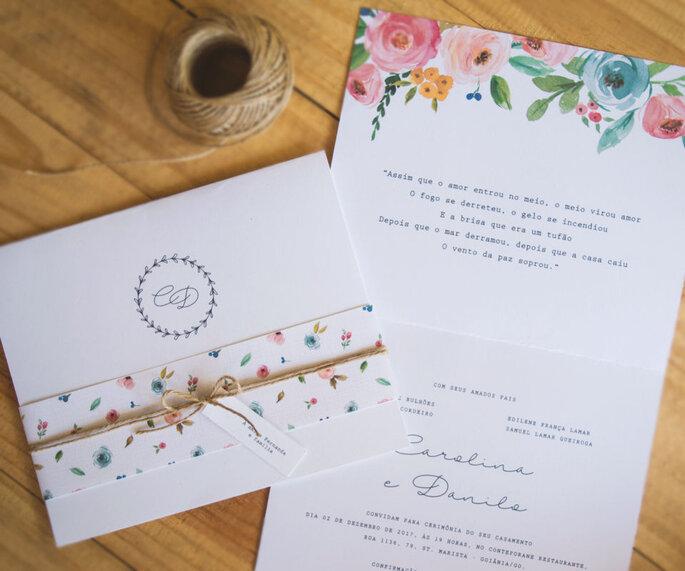 Convite para casamento romântico