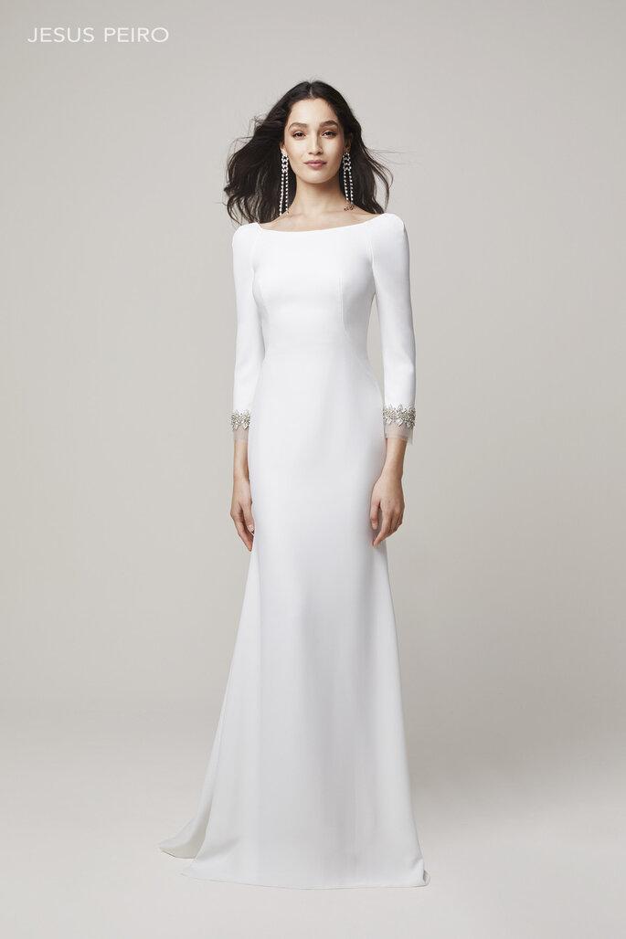 Vestido de novia sencillo línea A