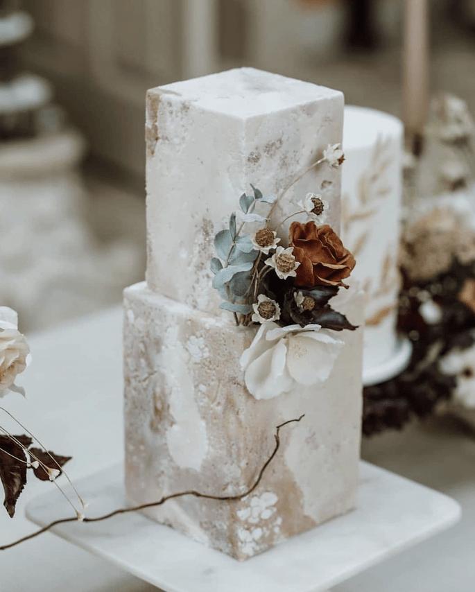 Hochzeitstorte modern, quadratisch, boho chic