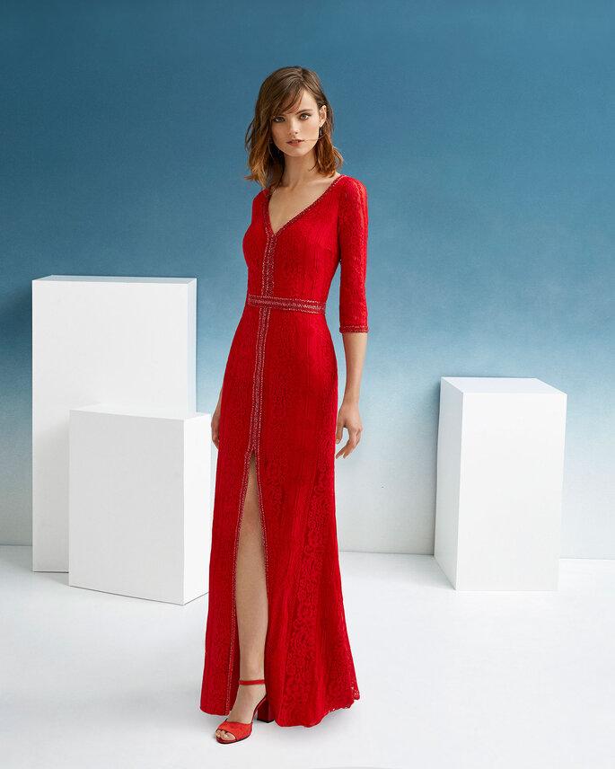 Vestido de fiesta rojo manga francesa y abertura frontal