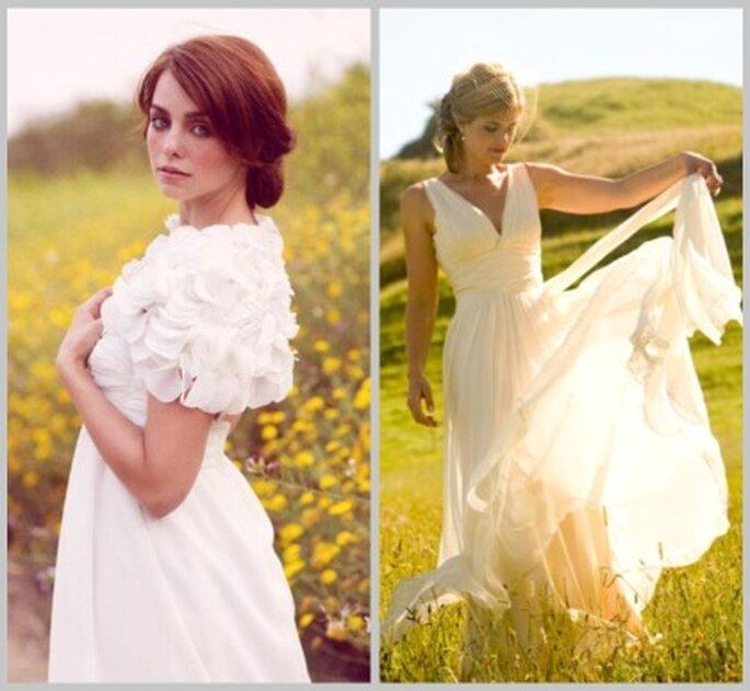 Dos vestidos de novia ideales para bodas en el campo