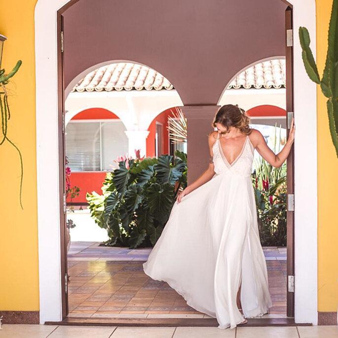 venda de vestido de noiva decotado