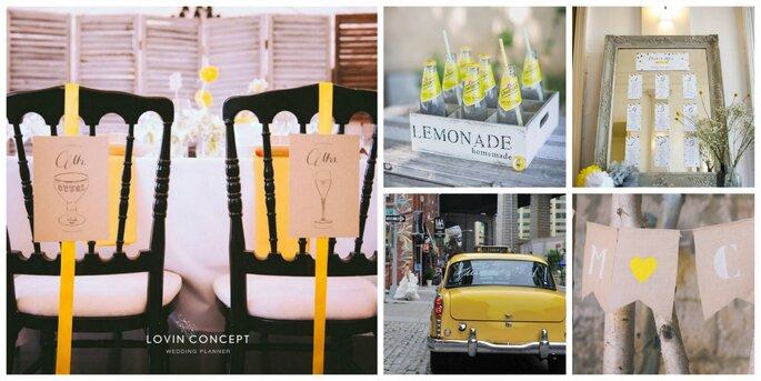 À gauche : Lovin' Concept Wedding Planner / En haut au centre : Boîte Lemonade Holly Party / En haut à droite : Papeterie Pastilles et Petits pois / En bas au centre : Once upon a time Wedding Planner / En bas à droite : Lovin' Concept Wedding Planner