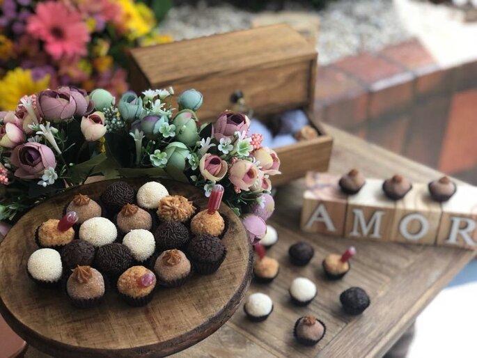 Mesa de doces rústica