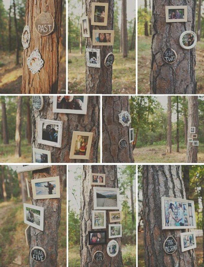dekoracja ze zdjęć na ślubie