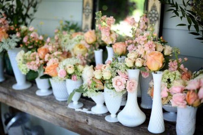 Milk Glass Wedding Decor from West Manor Events